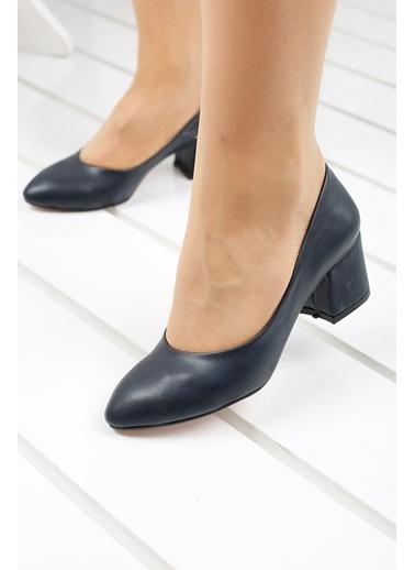 Ayakland Ayakland 97544-312 Cilt 5 Cm Topuklu Bayan Ayakkabı Lacivert